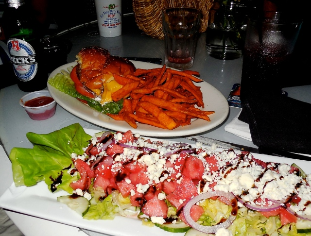 the best watermelon salad, sweet potato fries and something cold