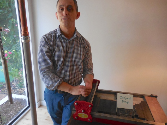 John Cutrone from Parrot Cove located a new printing press