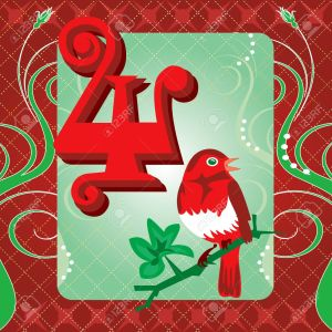 11271660-Vector-Illustration-Card-for-the-12-days-of-Christmas-Four-Calling-Birds--Stock-Vector