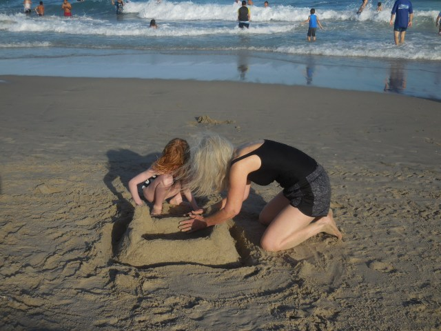 lots of digging and building of sandcastles and shark blow