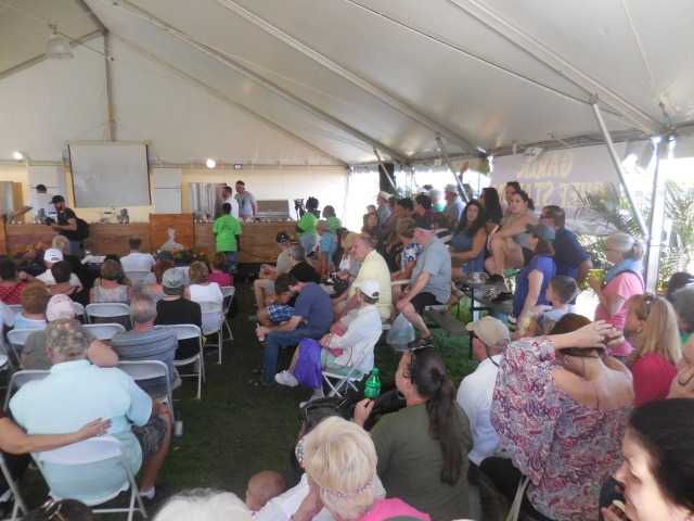 the heros of the Garlic Fest Chefs. the tiered seating was one of 5 in this tent